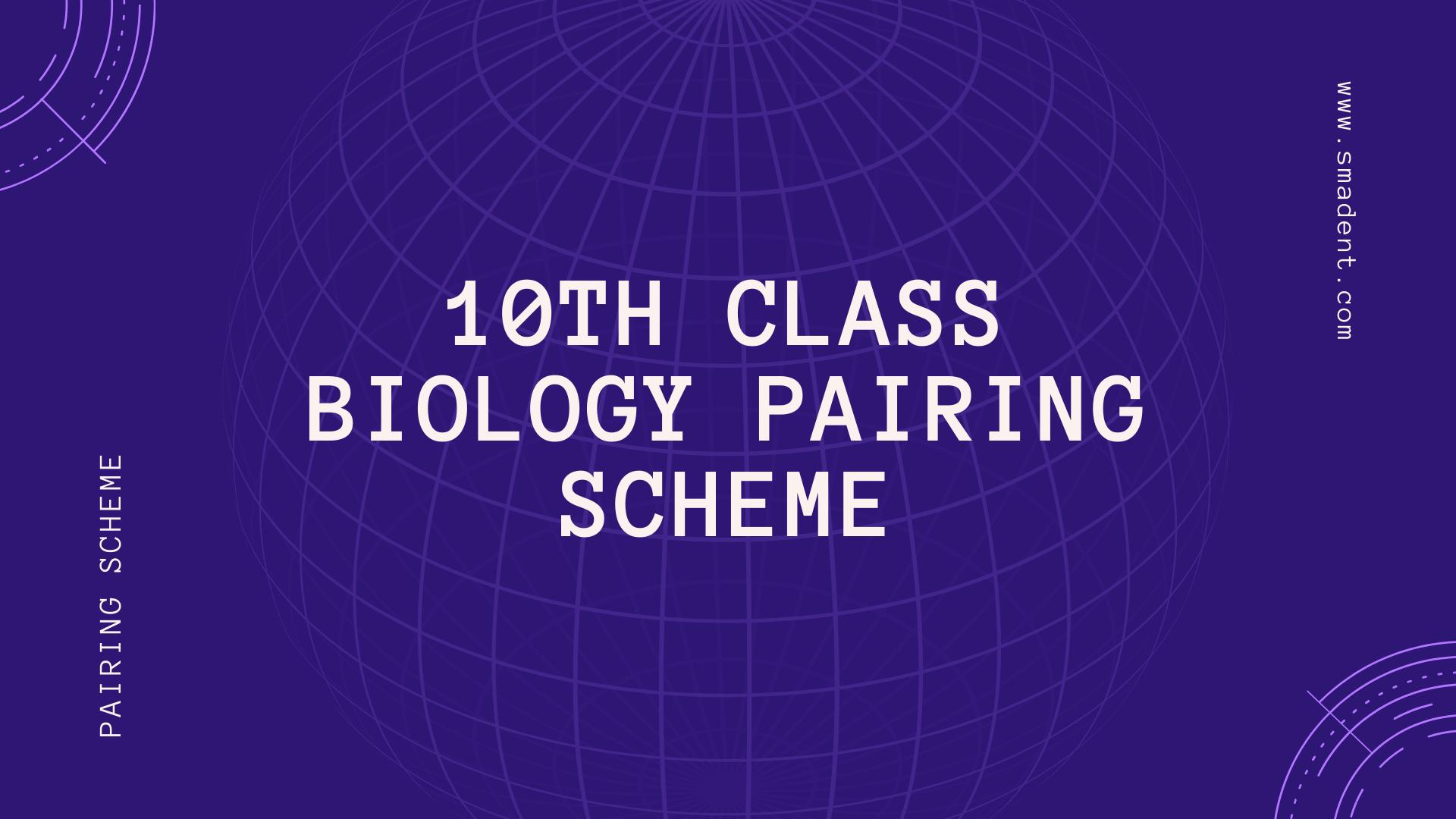 10th Class Biology pairing scheme 2020 | Smadent
